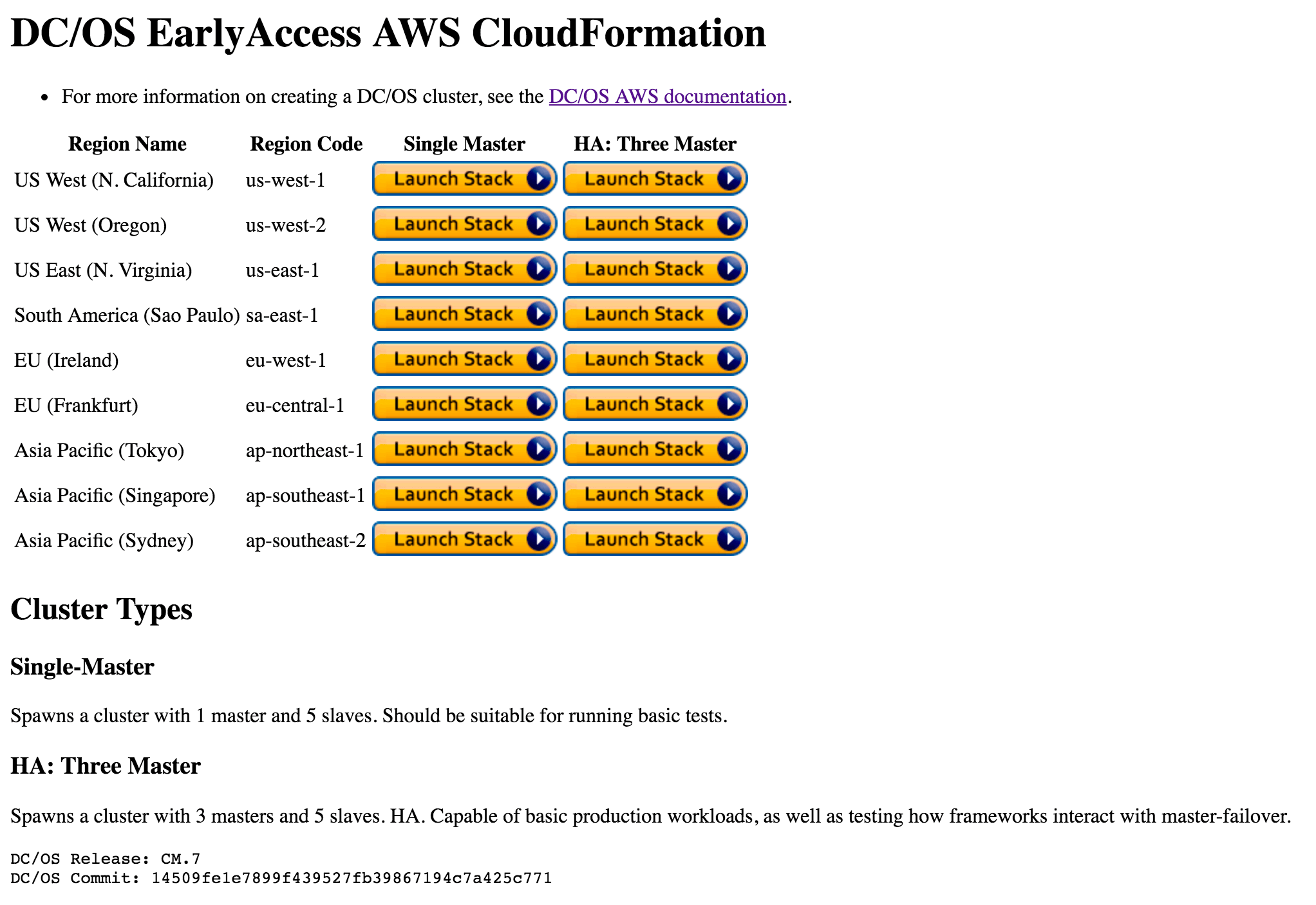 DC/OS Early Access AWS Cloud Formation Template