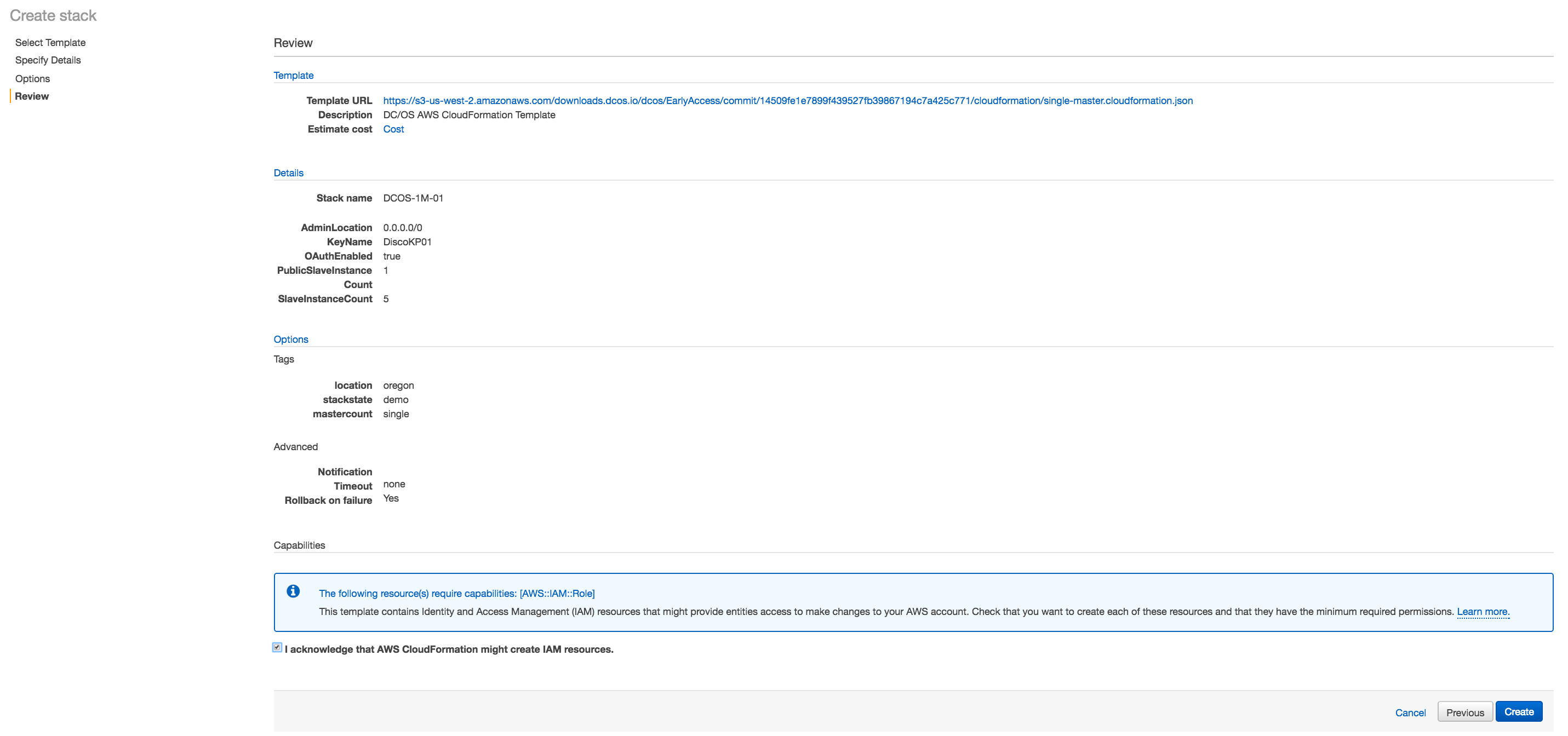 DC/OS on AWS how to review and save stack settings