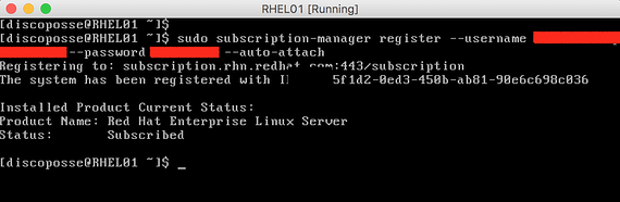 subscribed window in RHEL 7