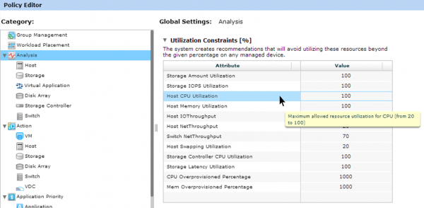 VMTurbo policy editor interface